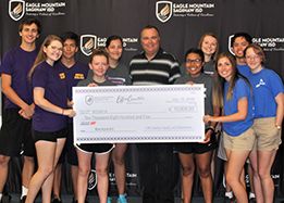 High school students present the $10,805 check to the Effie Center.